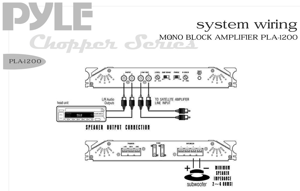 pyle pldn74bti wiring diagram pyle - pla1200 - on the road - vehicle amplifiers