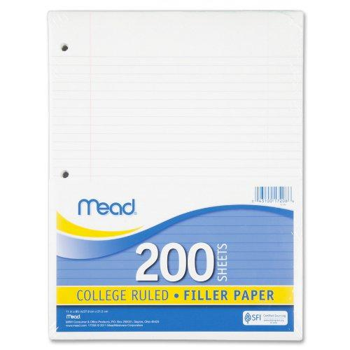 200 ct college ruled filler paper