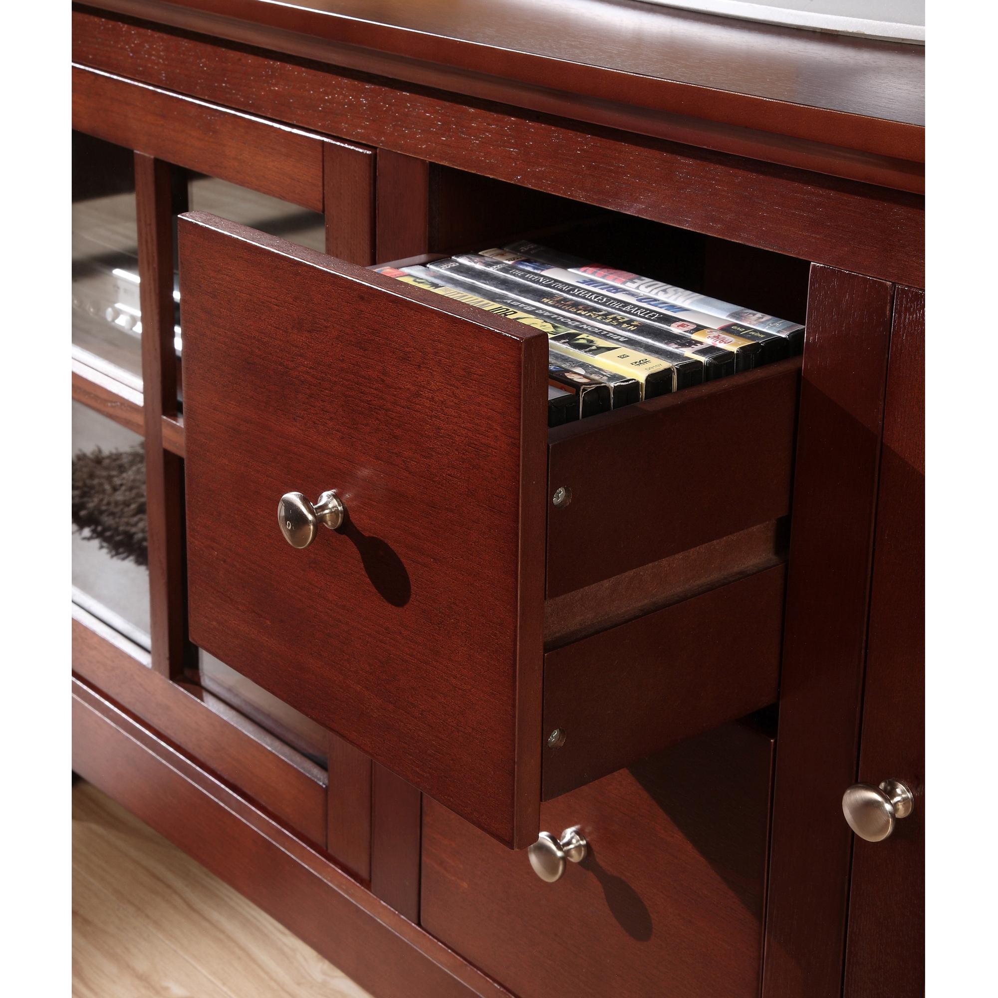 walker edison 53 wood tv stand with drawers black home entertainment centers. Black Bedroom Furniture Sets. Home Design Ideas