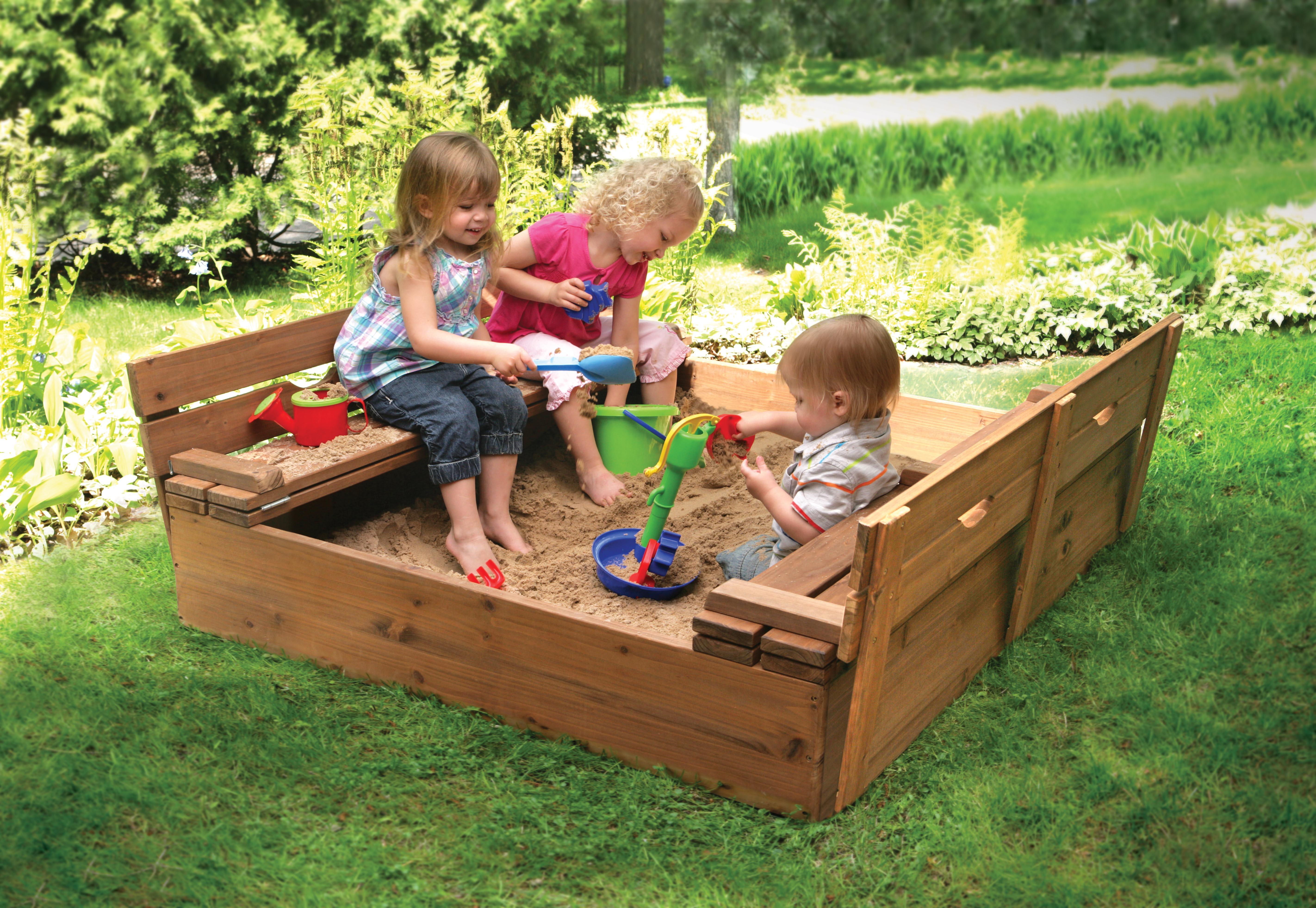 Amazon Com Badger Basket Covered Convertible Cedar Sandbox With Two Bench Seats Natural Baby