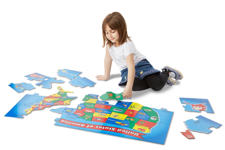 Amazon Com Melissa Amp Doug Usa Map 51 Pcs Floor Puzzle