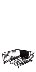 rubbermaid antimicrobial dish drainer with silverware cup large black dish racks. Black Bedroom Furniture Sets. Home Design Ideas