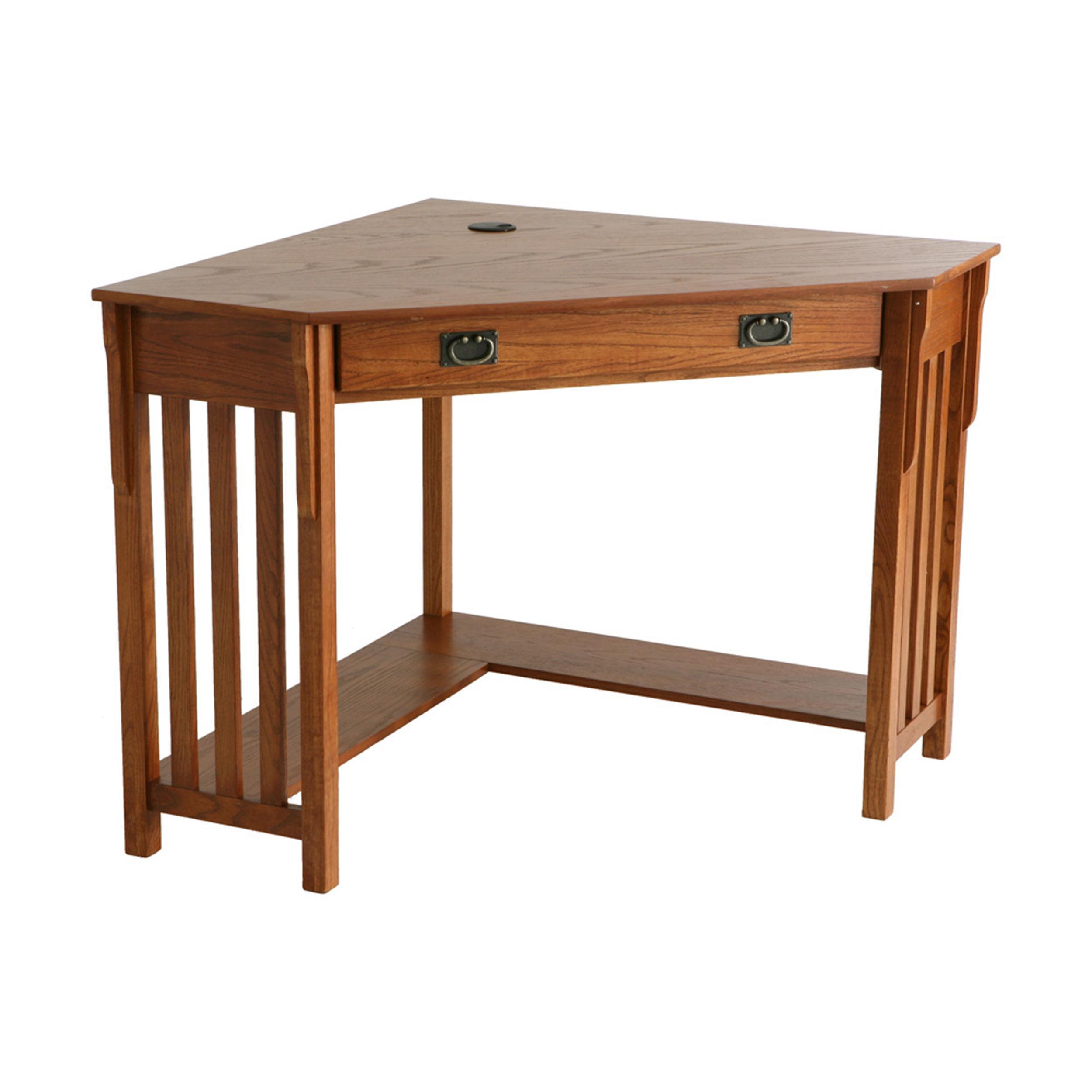 Corner Computer Desk: Mission Oak Corner Desk