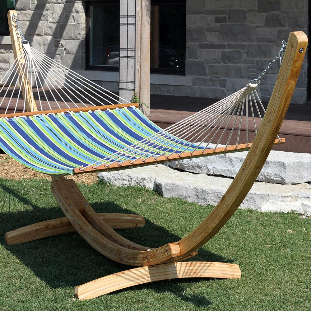 Patio Hammock: Juniper Wood Arc Hammock Stand