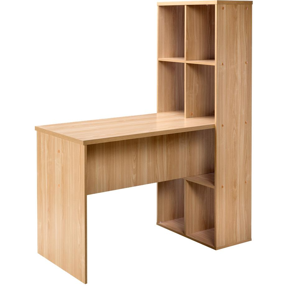 Amazon Com Comfort Products 50 512ok Modern Desk With Attached Bookshelf Large Oak
