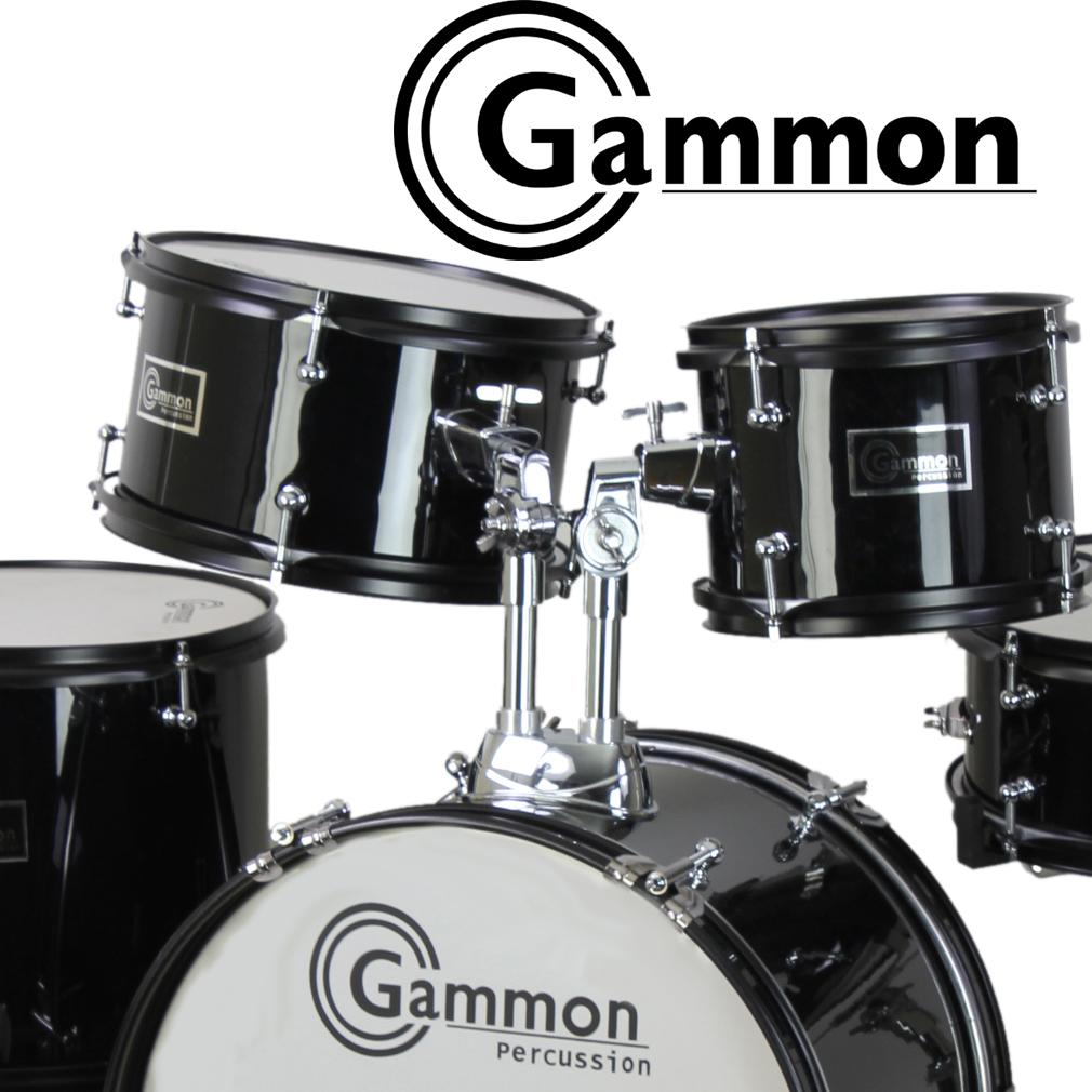 gammon 5 piece junior starter drum set metallic blue kit with cymbals stands sticks. Black Bedroom Furniture Sets. Home Design Ideas