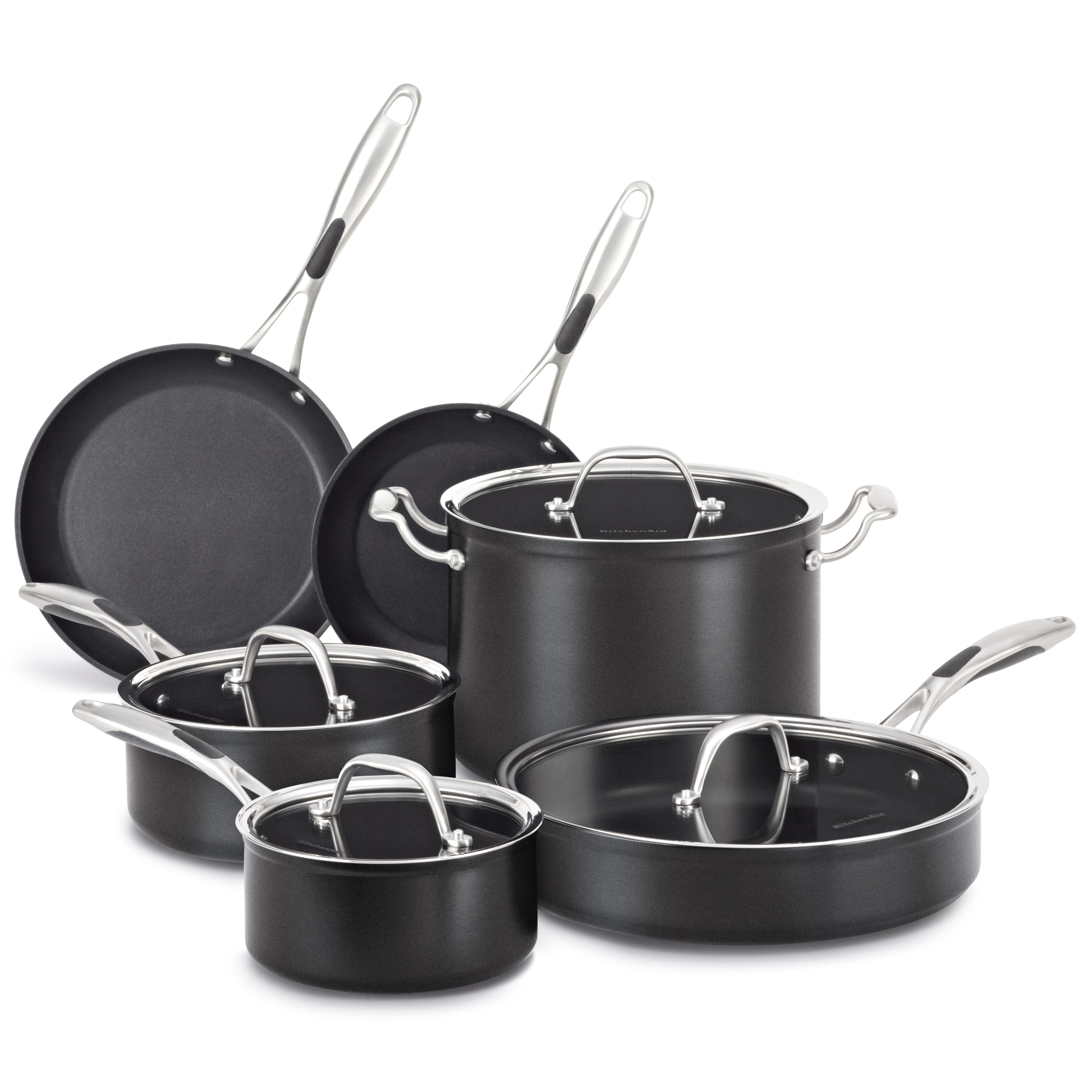 Kitchen Aid 10 Piece Nonstick Cookware Set Pots Pans