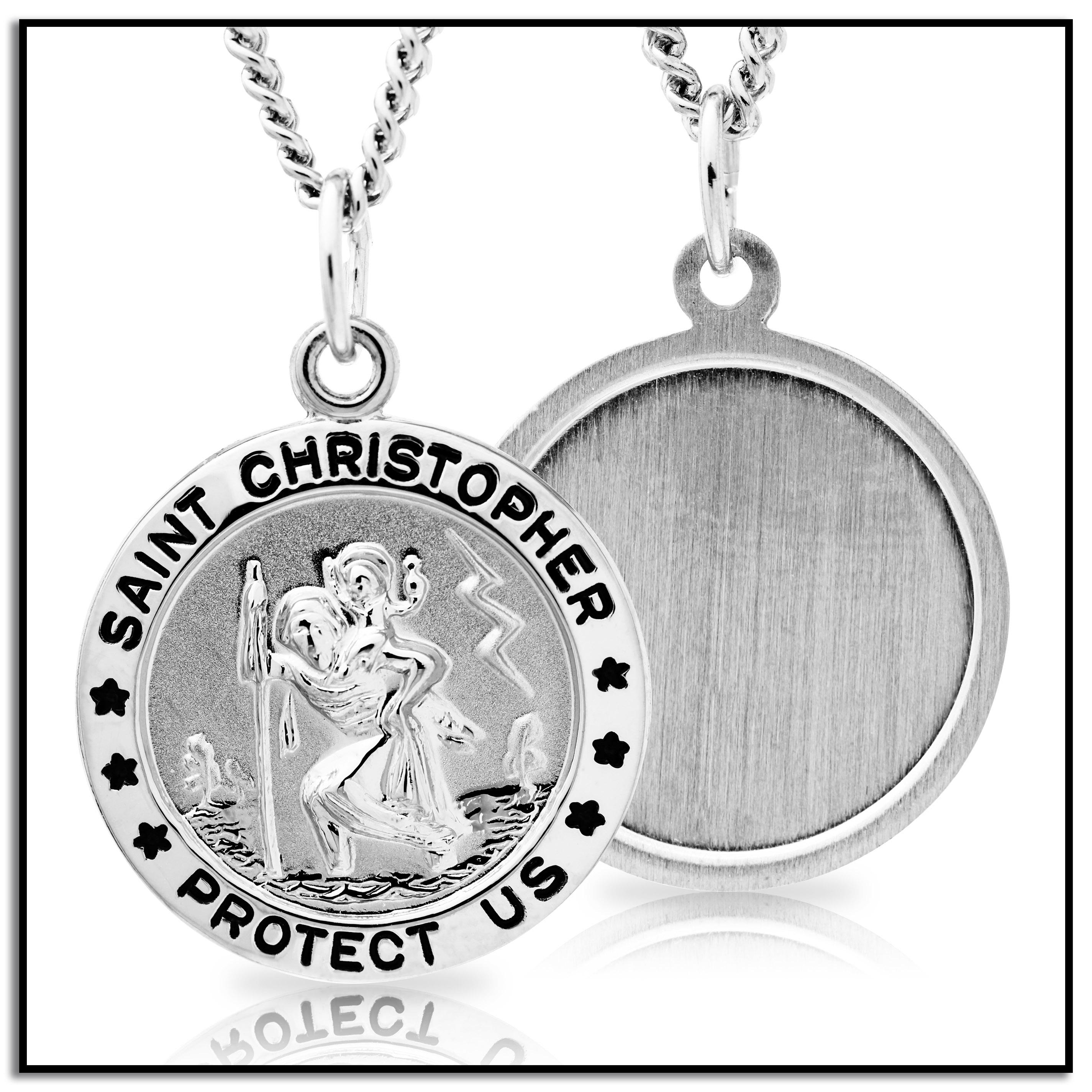 Sterling Silver Saint Christopher Round Medal With