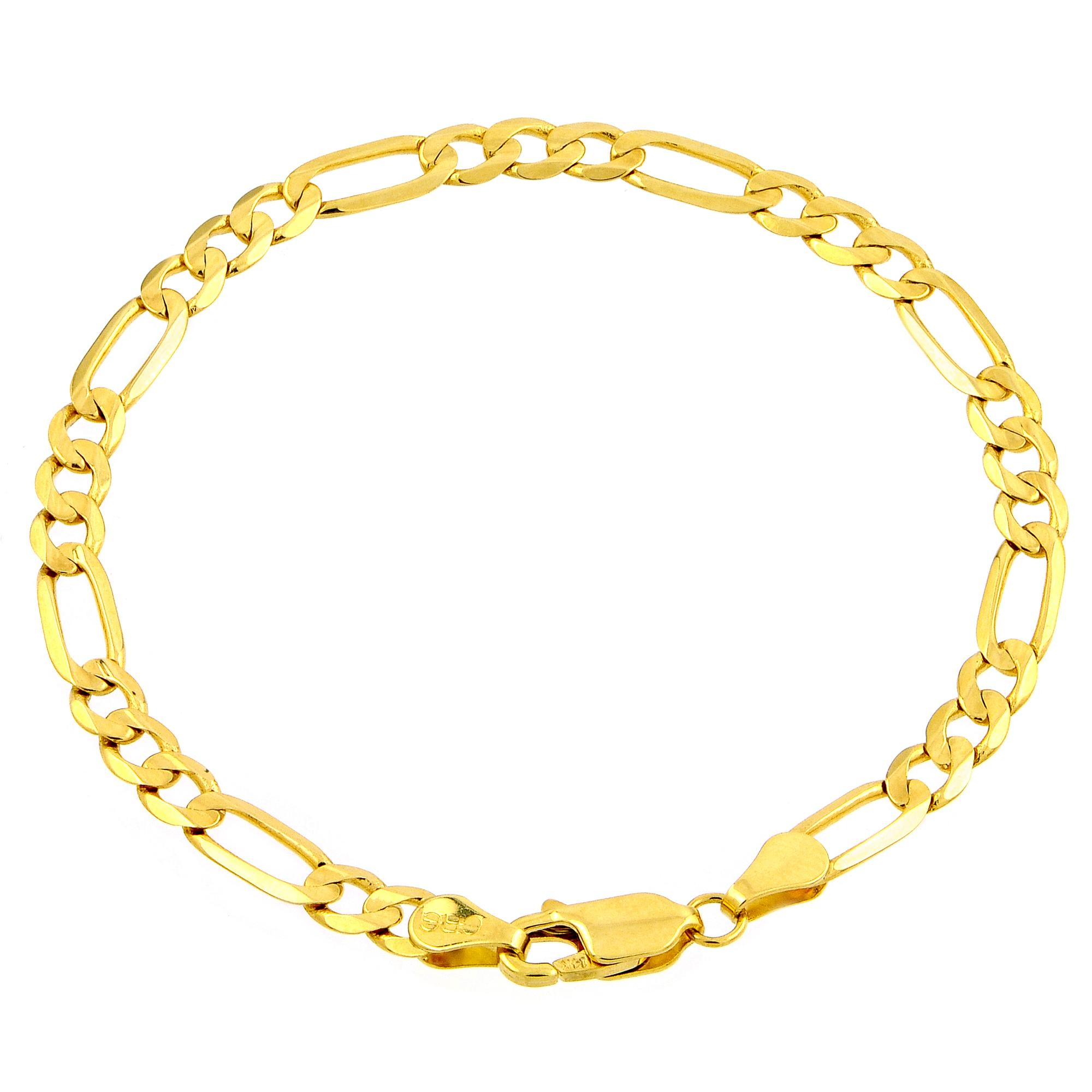 "Amazon.com: 10k Yellow Gold Figaro Bracelet, 8"": Link"