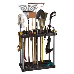 Lawn Tool Storage Tower Rack Casters 40 Tools Rakes