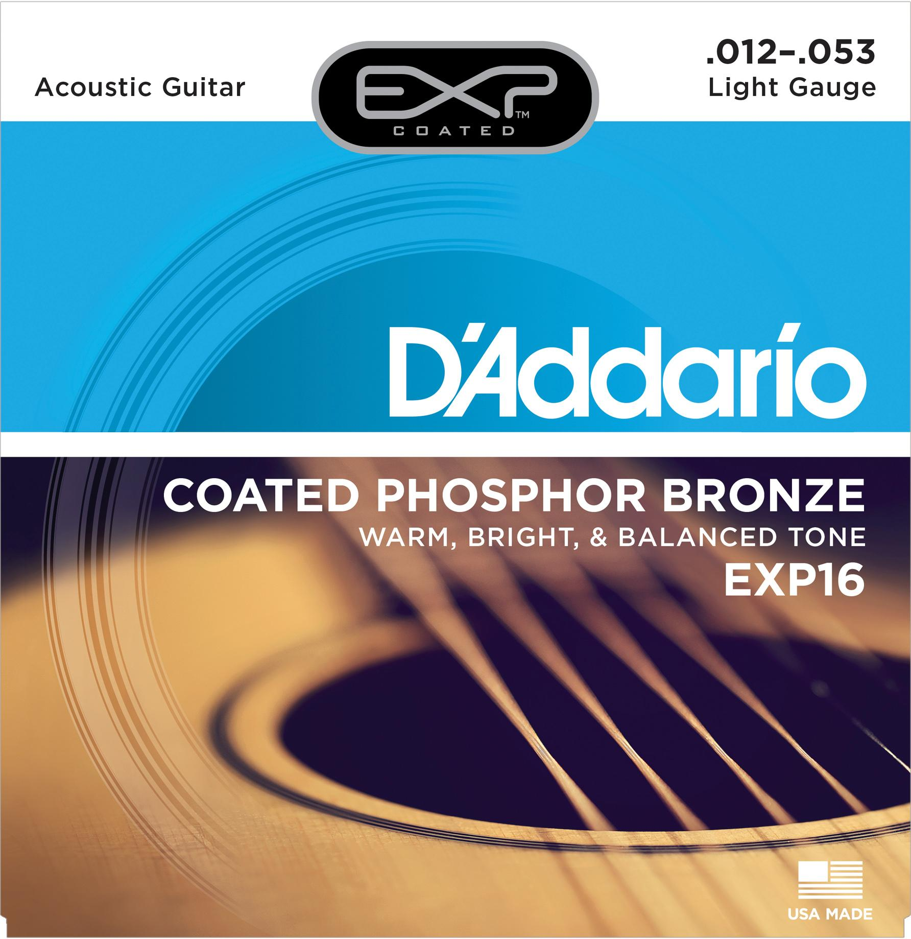 d 39 addario exp16 with ny steel phosphor bronze acoustic guitar strings coated light. Black Bedroom Furniture Sets. Home Design Ideas