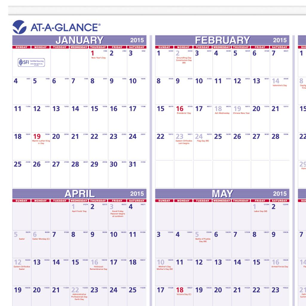 day at a glance calendar template - at a glance yearly wall calendar 2015 24 x