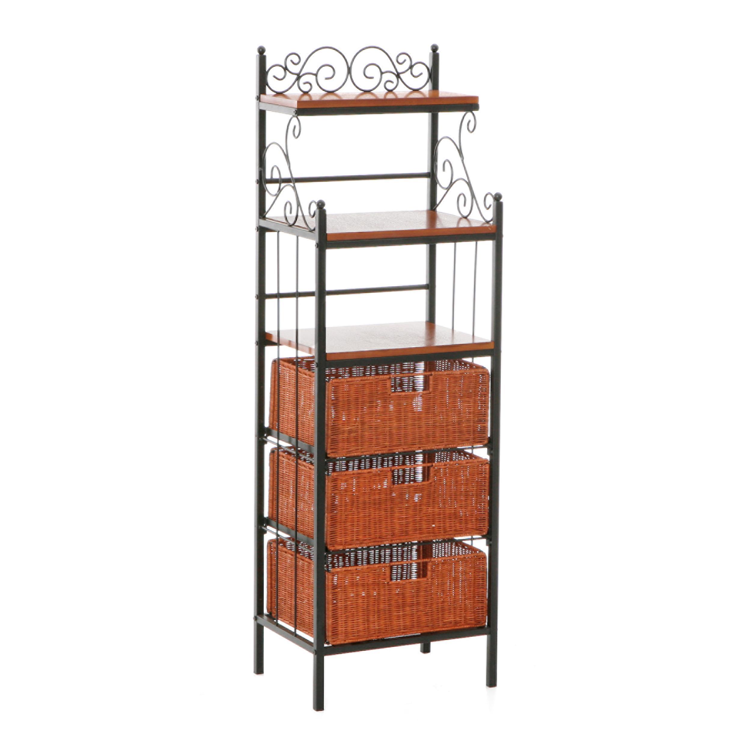 sei manilla 3 drawer rattan baker 39 s rack standing baker 39 s racks. Black Bedroom Furniture Sets. Home Design Ideas