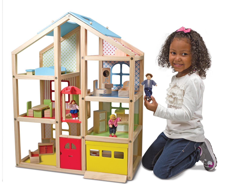 Amazon Com Melissa Amp Doug Hi Rise Dollhouse And Furniture