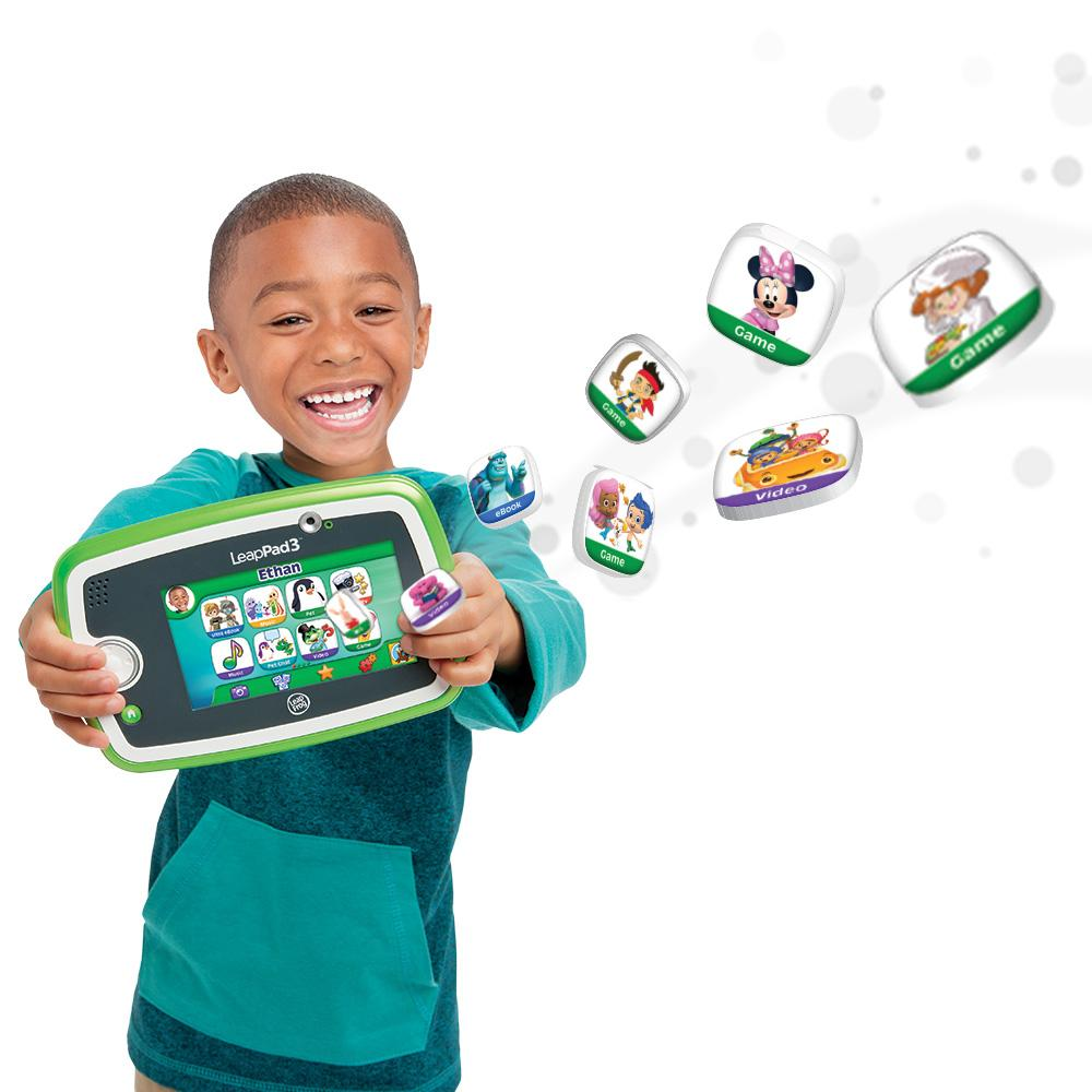 LeapFrog LeapPad with stylus, four apps (Pet Pad, Story Studio, Art Studio, and one app of your choice), extra stylus with tether, USB cable, installation CD, quick-start guide, and instructions. Library with + Learning Games and Apps.