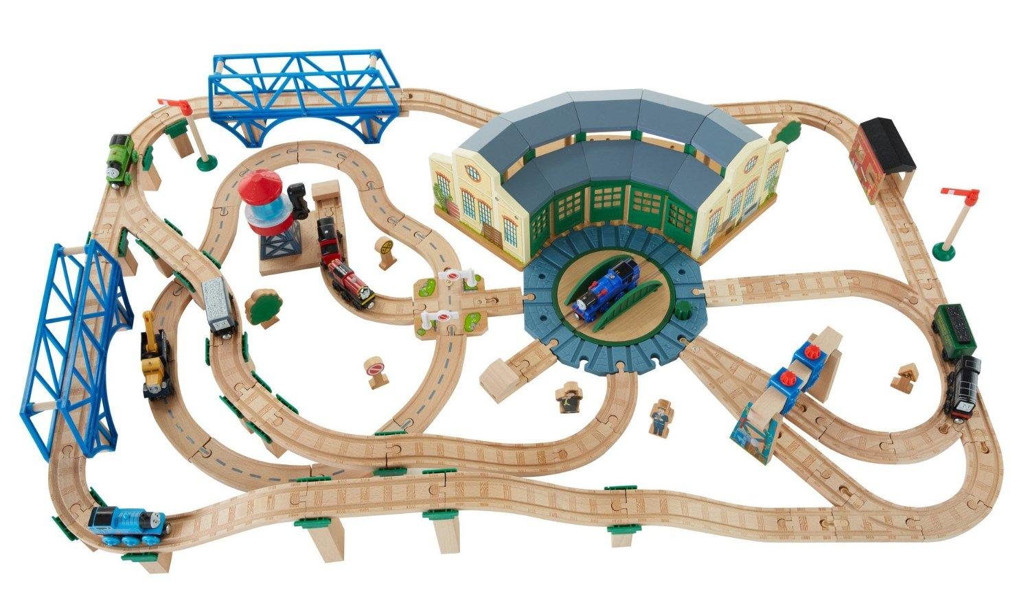 fisher price thomas the train wooden railway tidmouth sheds deluxe set toys games. Black Bedroom Furniture Sets. Home Design Ideas