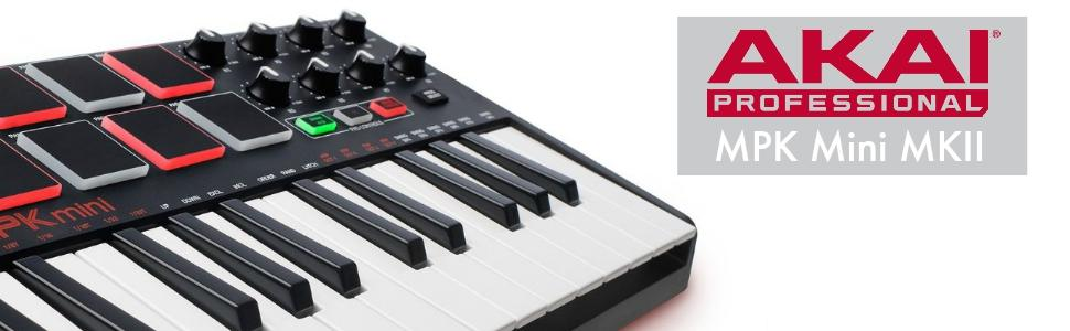 akai professional mpk mini mkii 25 key ultra portable usb midi drum pad and keyboard. Black Bedroom Furniture Sets. Home Design Ideas