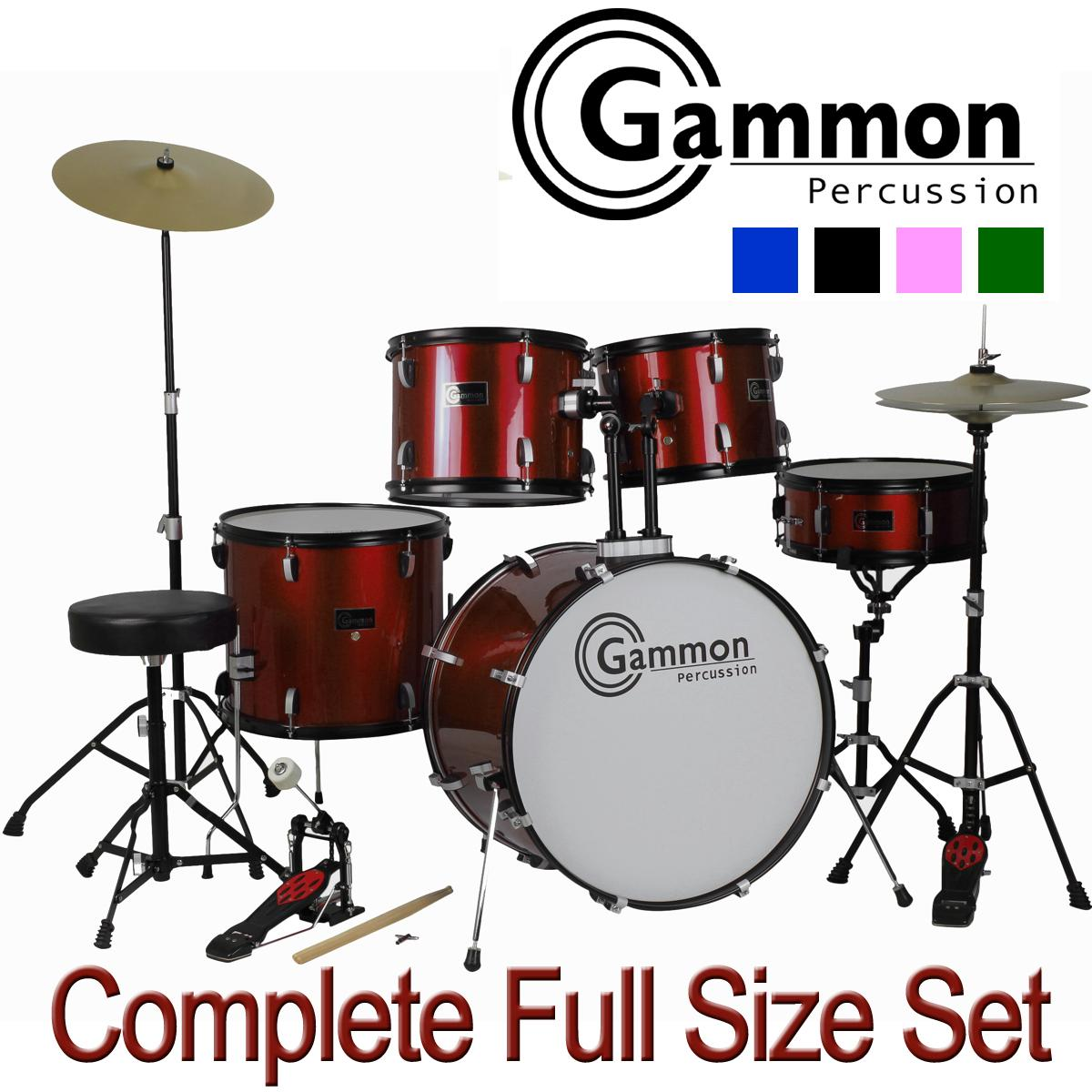 drum set full size adult 5 piece complete metallic blue with cymbals stands stool. Black Bedroom Furniture Sets. Home Design Ideas
