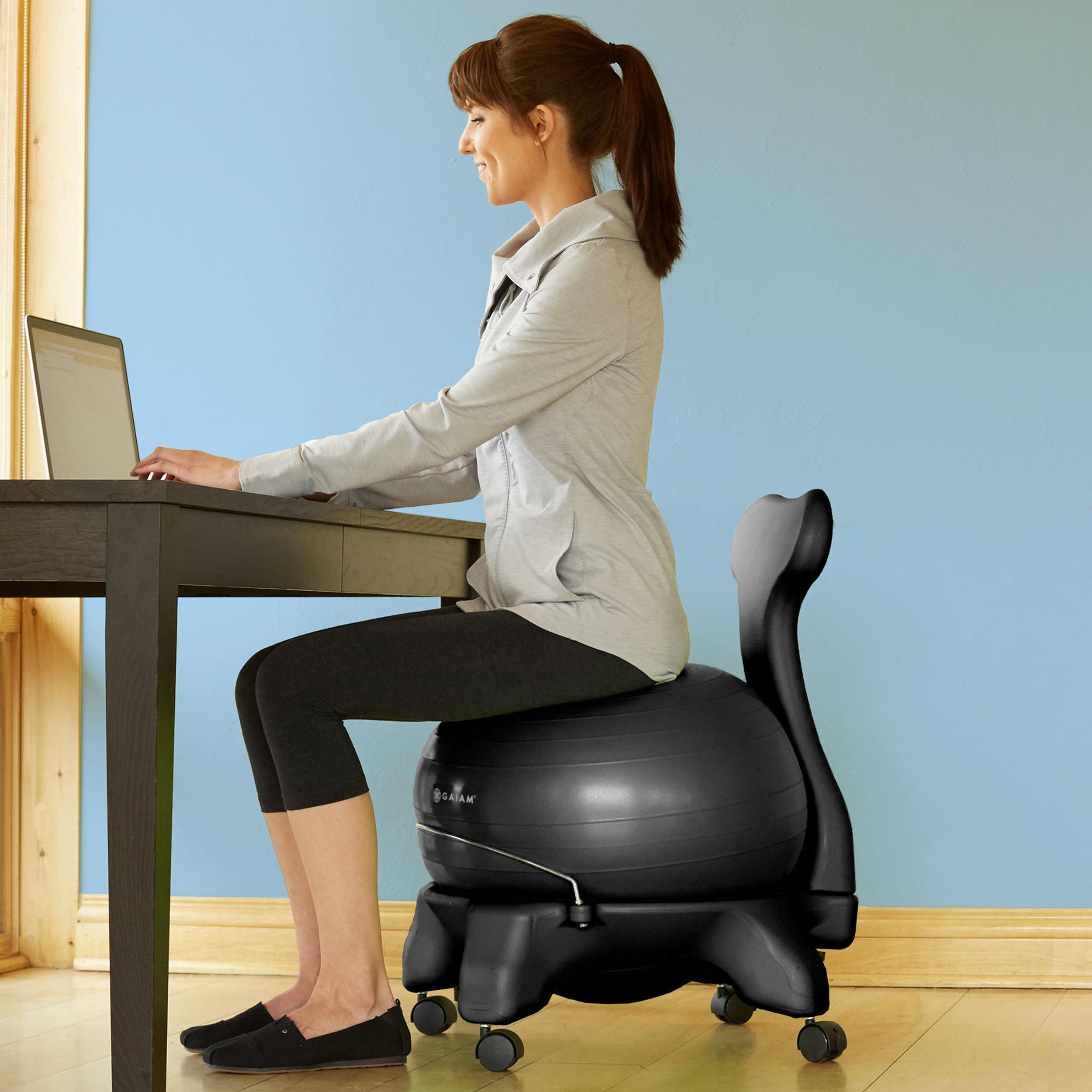 Stability Ball Desk Chair: Amazon.com : Gaiam Balance Ball Chair (Black) : Exercise