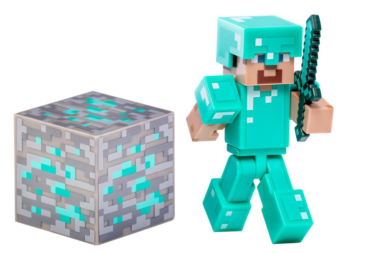 Kids Toys Action Figure: NEW Minecraft Steve Diamond Armor Flexible Feirce & Fight