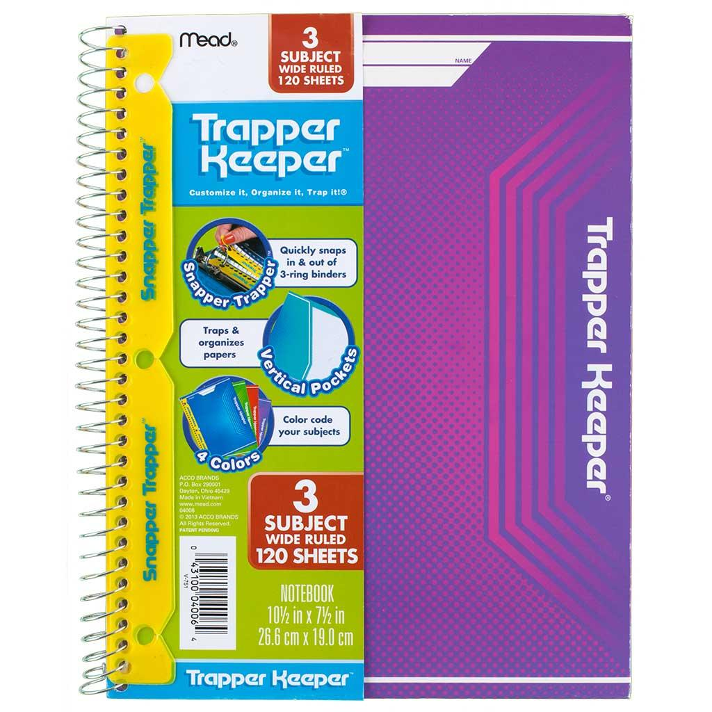 Notebook Spiral 3-subject Trapper Keeper Mead