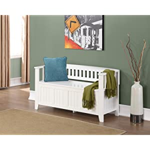 Amazon Com Simpli Home Acadian Entryway Bench White