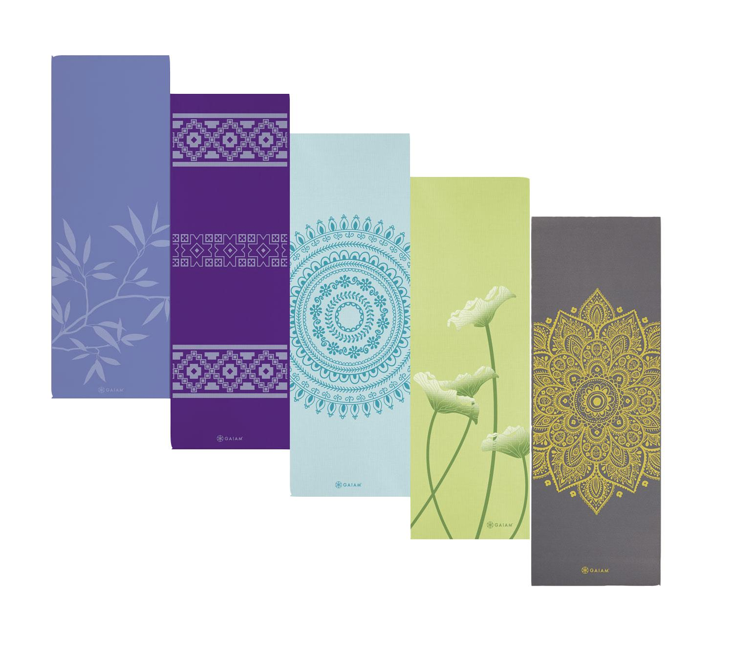Amazon Com Gaiam Ash Leaves Print Premium Yoga Mat 5mm