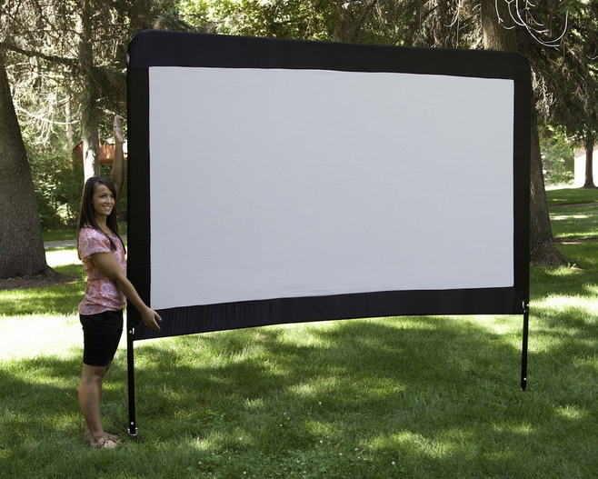 camp chef 120 inch portable outdoor movie theater screen patio lawn garden. Black Bedroom Furniture Sets. Home Design Ideas