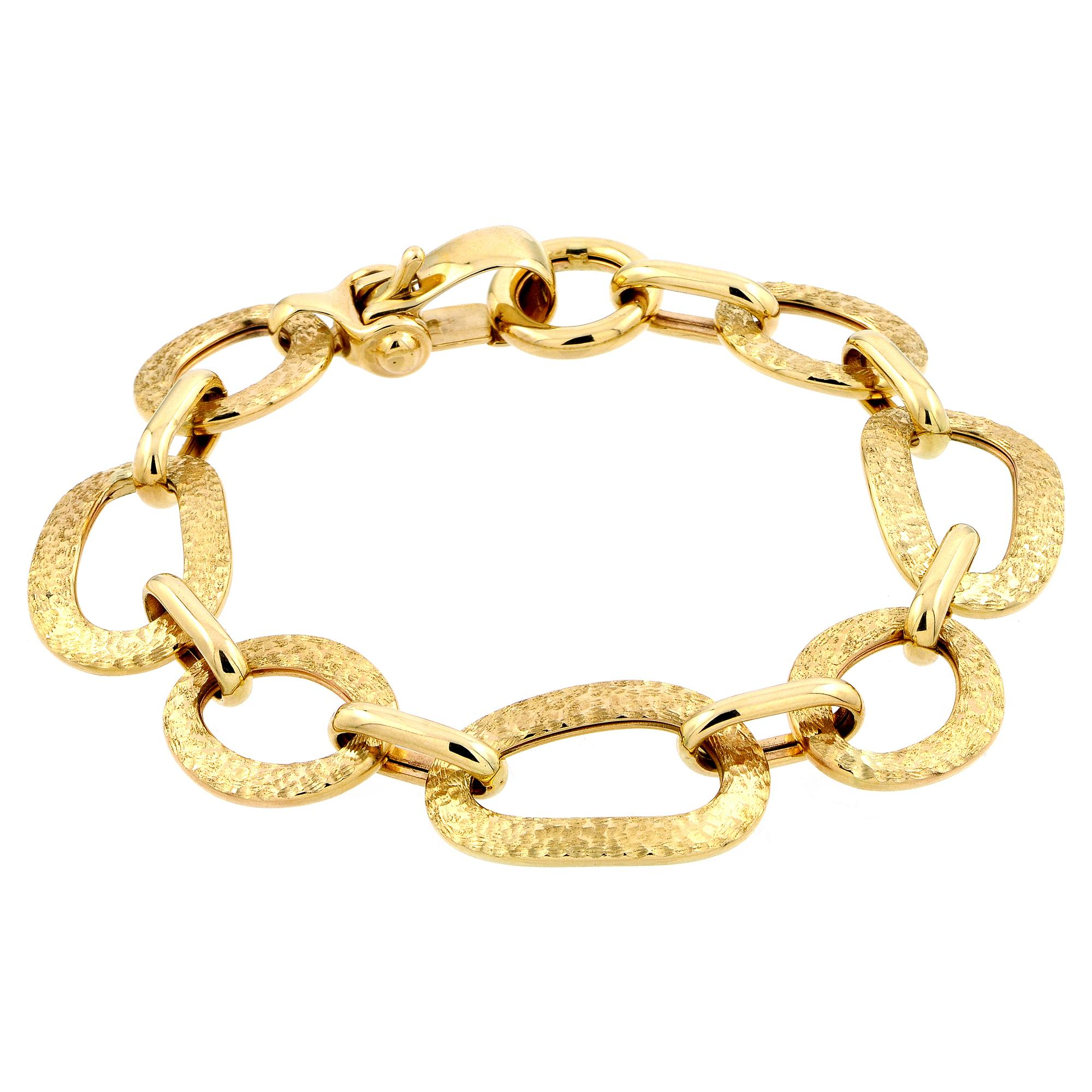 Amazon.com: 14k Yellow Gold Italian Hammered Bracelet, 7.5