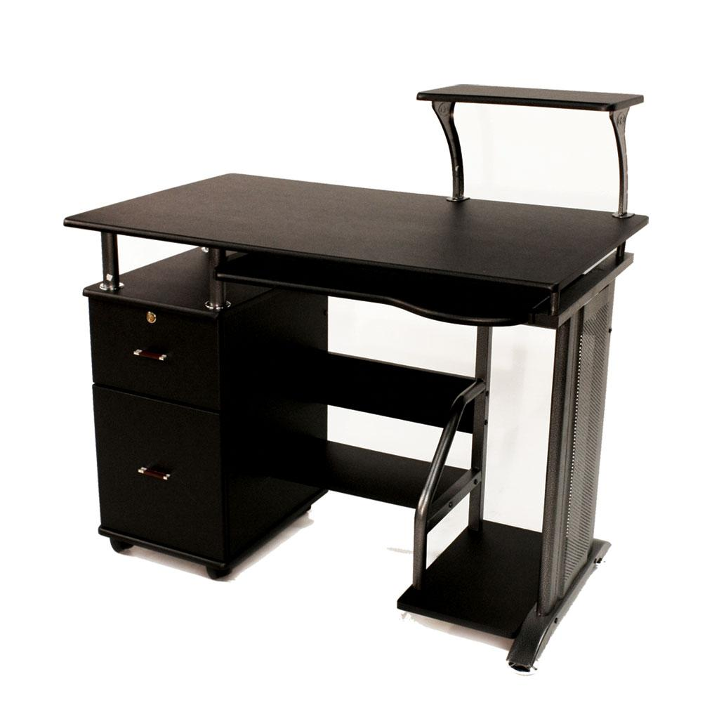 wooden computer desk shelf drawer storage office workstation rolling stand black ebay. Black Bedroom Furniture Sets. Home Design Ideas