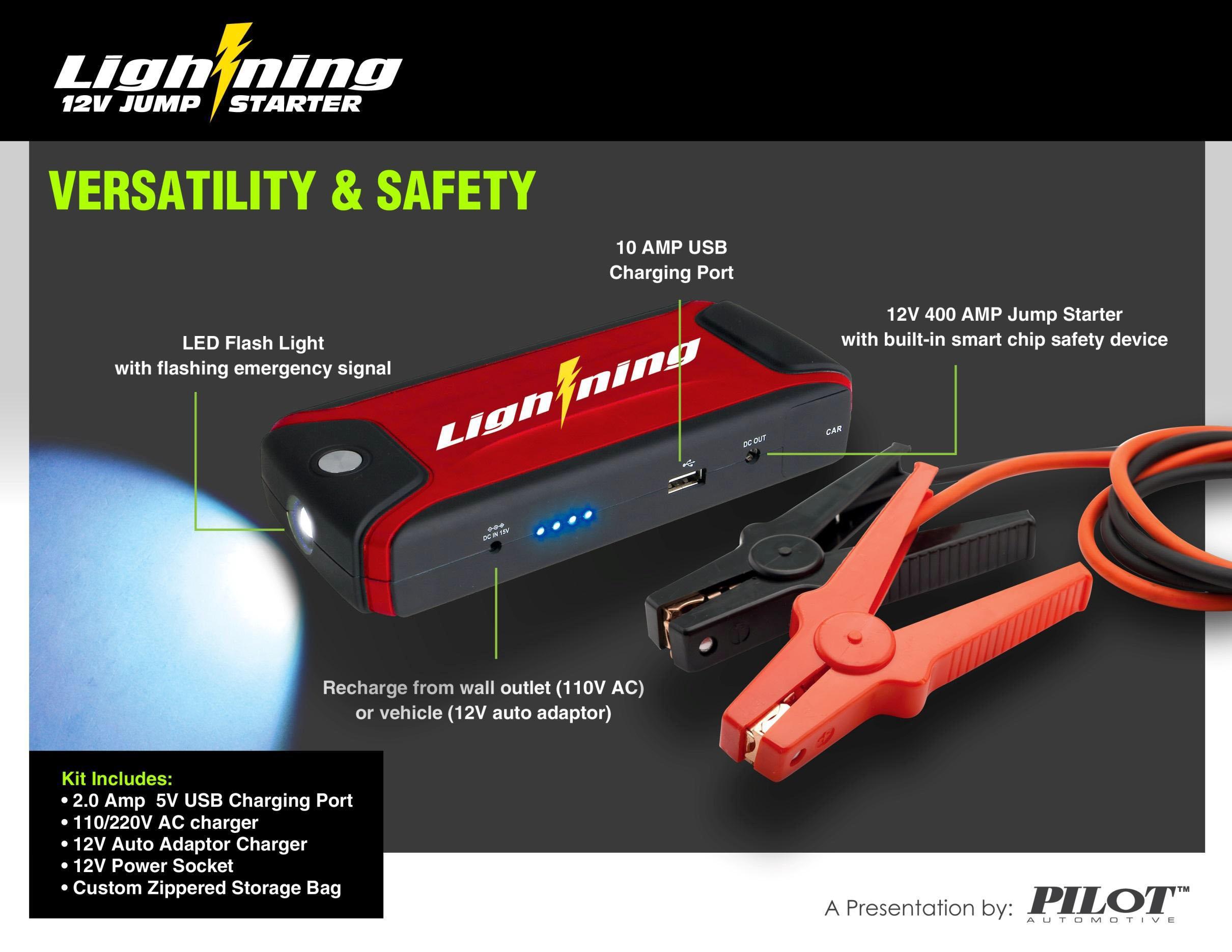 Lightning Power Bank 12V Jump Starter and Mobile Device ...  |Power Source Jump Starter Lightning