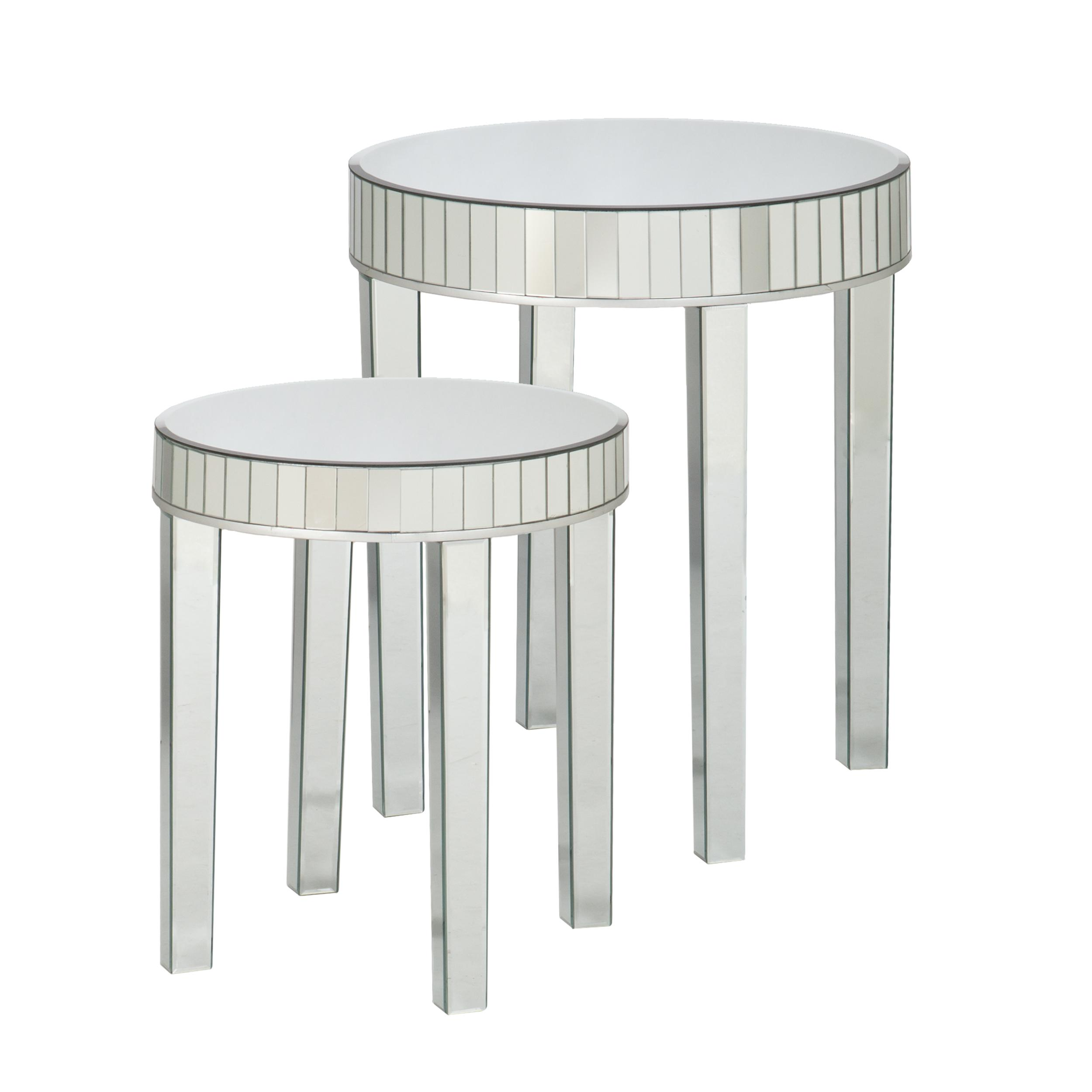 round mirrored nesting table 2pc set kitchen dining. Black Bedroom Furniture Sets. Home Design Ideas