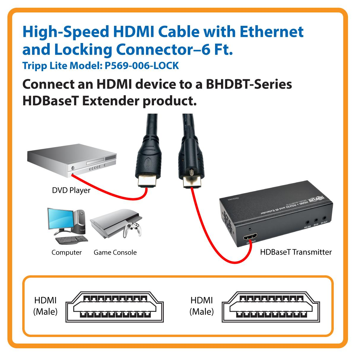 Amazon Com Tripp Lite High Speed Hdmi Cable With Ethernet