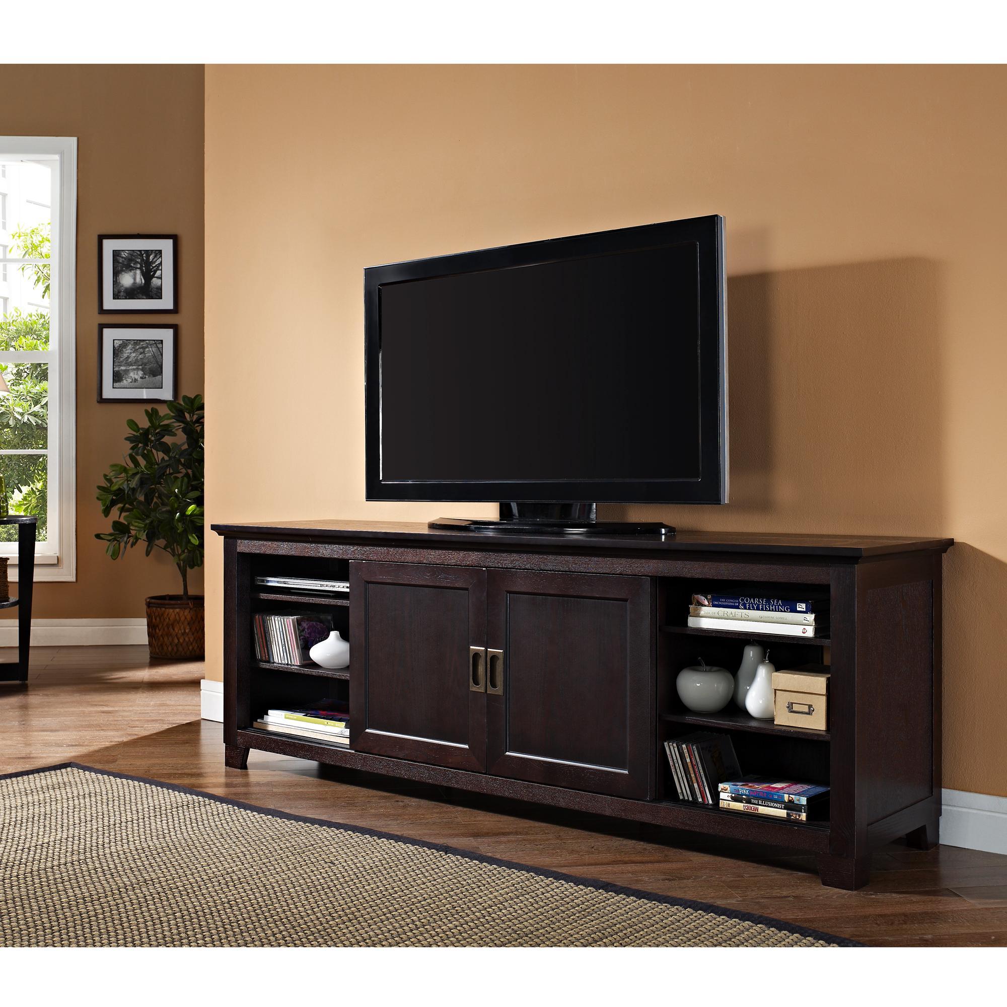 we furniture 70 wood tv stand with sliding doors entertainment stands. Black Bedroom Furniture Sets. Home Design Ideas