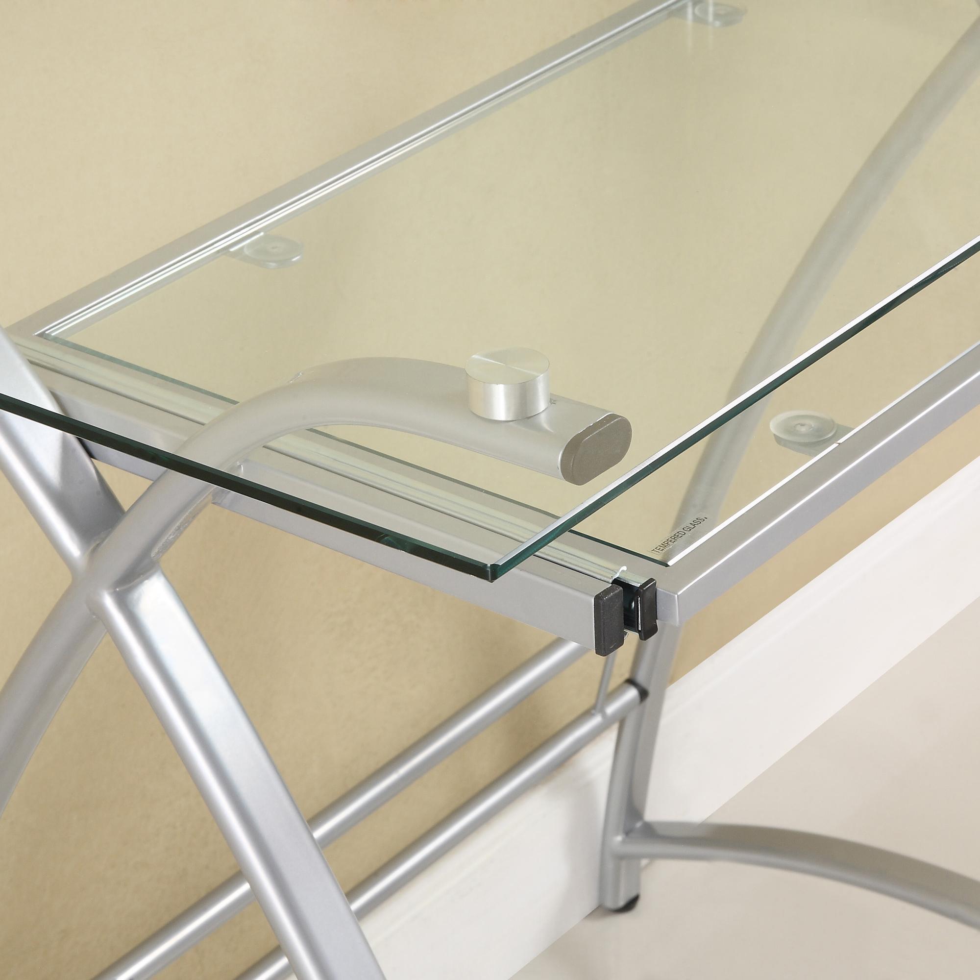 Amazon Com Glass Metal Black Corner Computer Desk