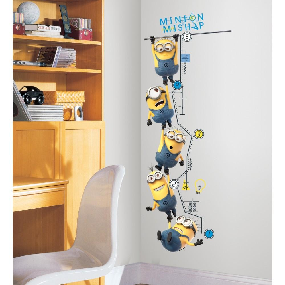 minions growth chart minion growth chart minion wall decals minions wall sticker. Black Bedroom Furniture Sets. Home Design Ideas