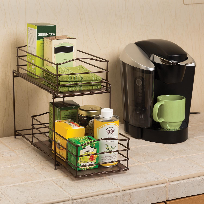 Kitchen Cabinet Storage Organizers: Seville Classics 2-Tier Sliding Basket