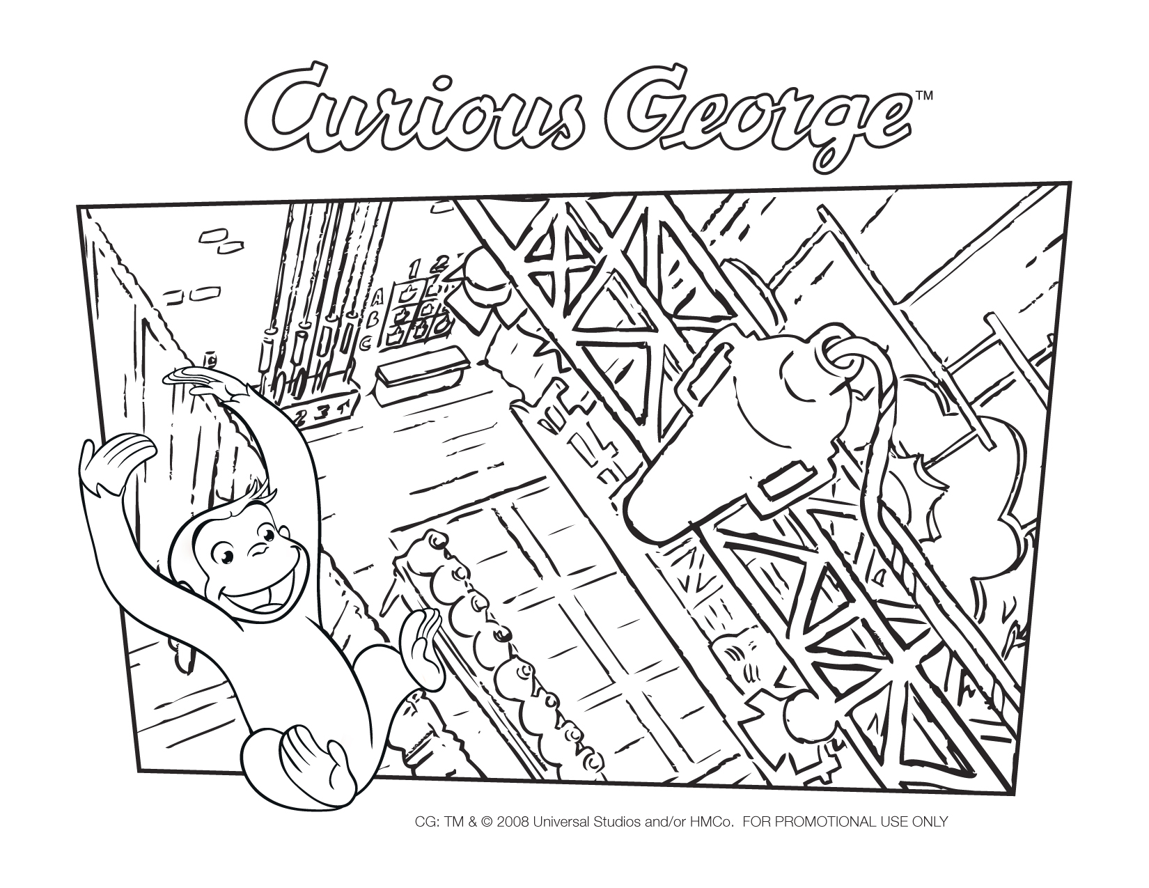 curious george fire coloring pages - photo#17