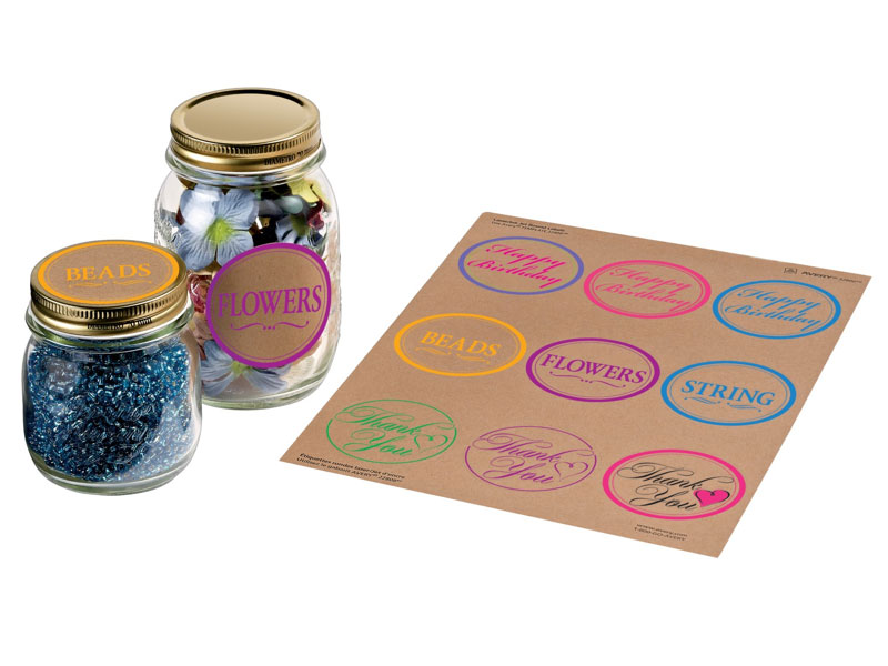 Round kraft labels on Shoppinder