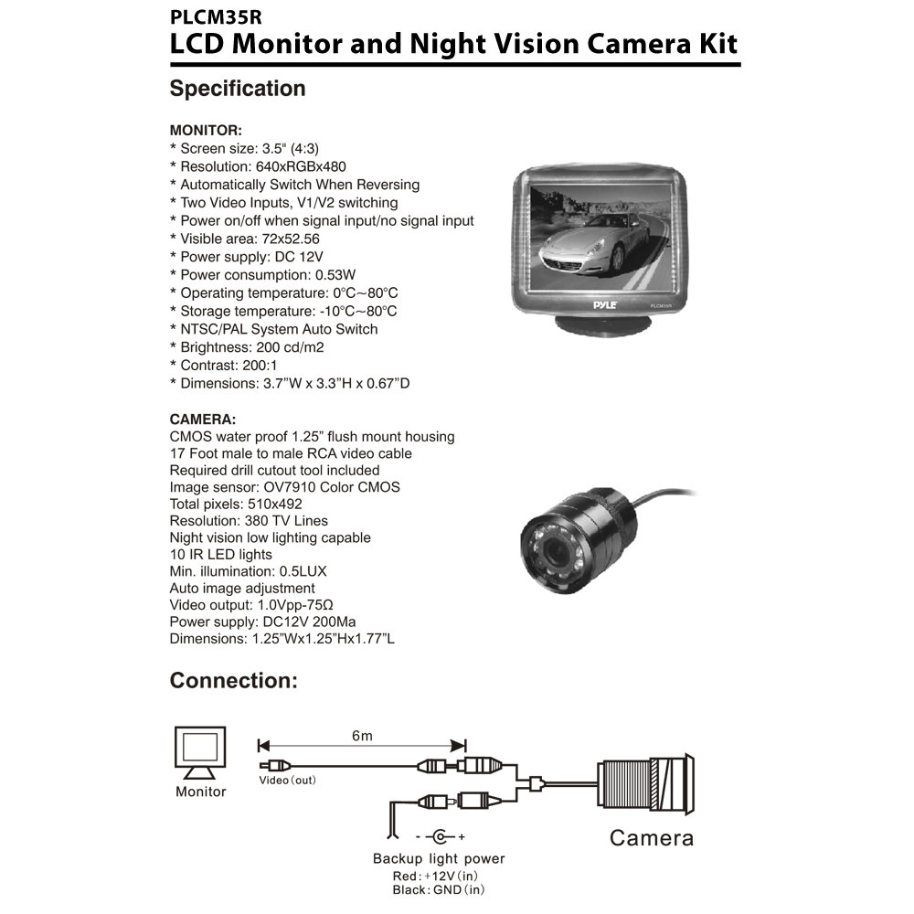 pyle view plsd131bt wiring diagram chevy camaro rear view camera wiring diagram specifications diagram