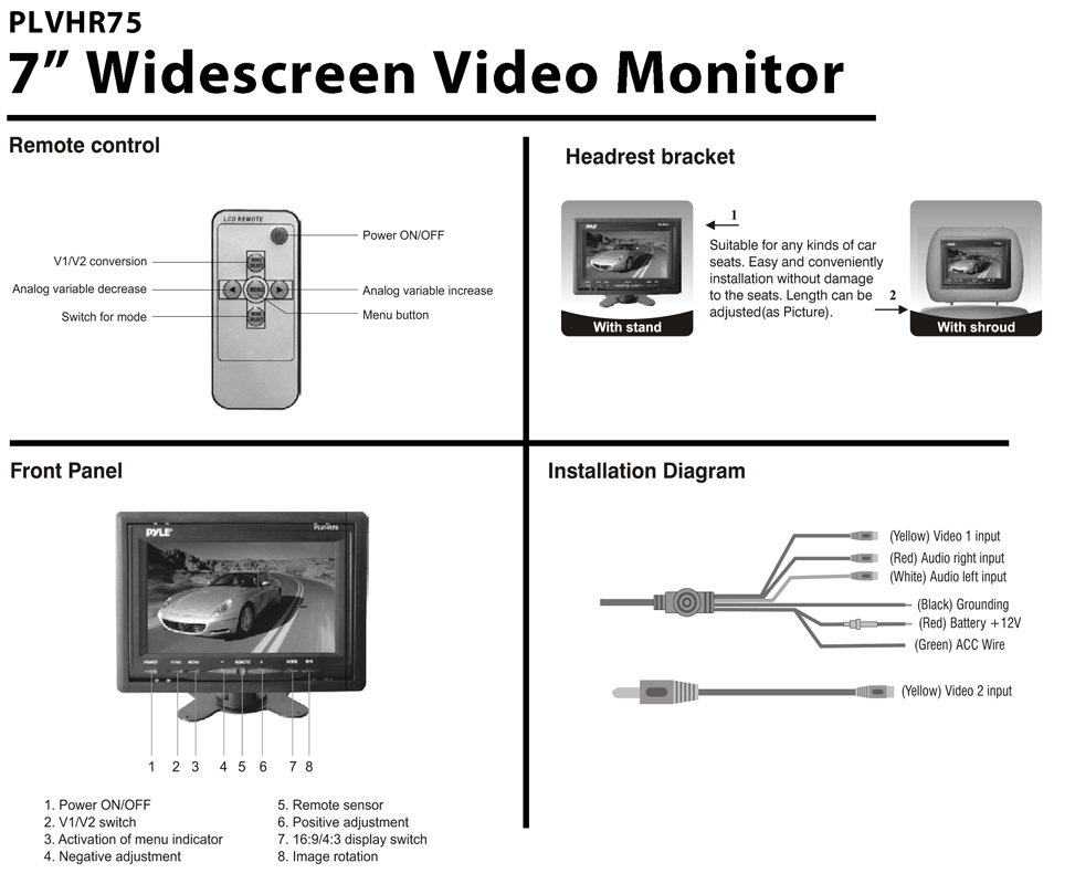 car monitor wiring diagram car headrest 7 inch tft widescreen headrest lcd monitor ... computer monitor wiring diagram #3
