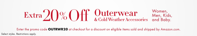 Extra 20% Off Outerwear & Cold Weather Accessories