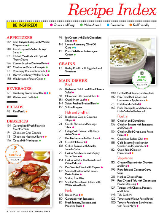 Magazines Store: Cooking Light (-year)Food Magazine Table Of Contents