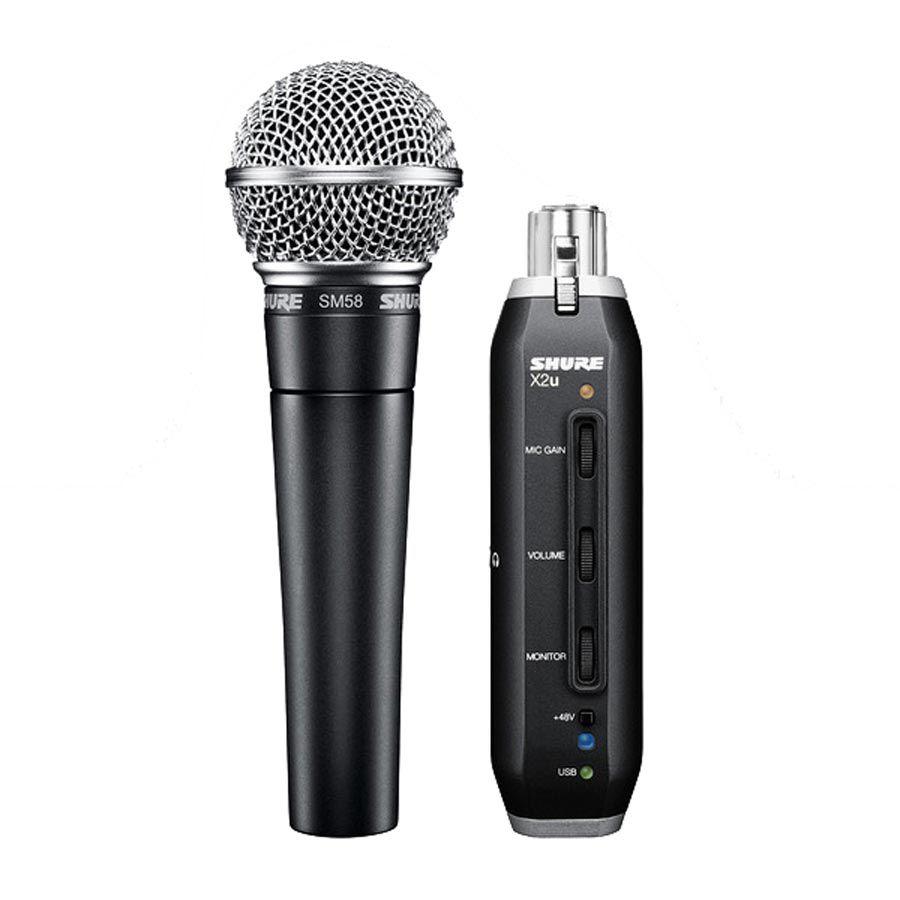 shure sm58 x2u cardioid dynamic microphone with x2u xlr to usb signal adapter. Black Bedroom Furniture Sets. Home Design Ideas