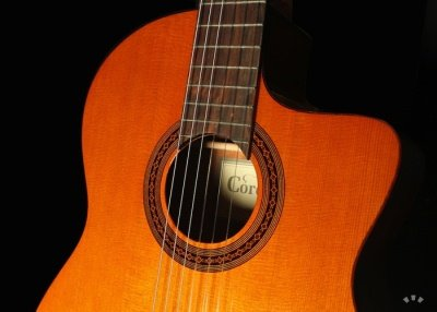 Front of the Cordoba C5-CE guitar.