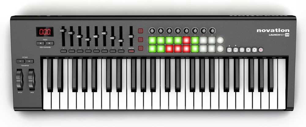 novation launchkey 49 49 key usb ios midi keyboard controller with synth weighted. Black Bedroom Furniture Sets. Home Design Ideas