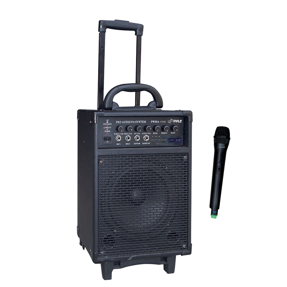 pyle pro pwma430u 300 watt wireless rechargeable portable pa system with fm usb sd. Black Bedroom Furniture Sets. Home Design Ideas