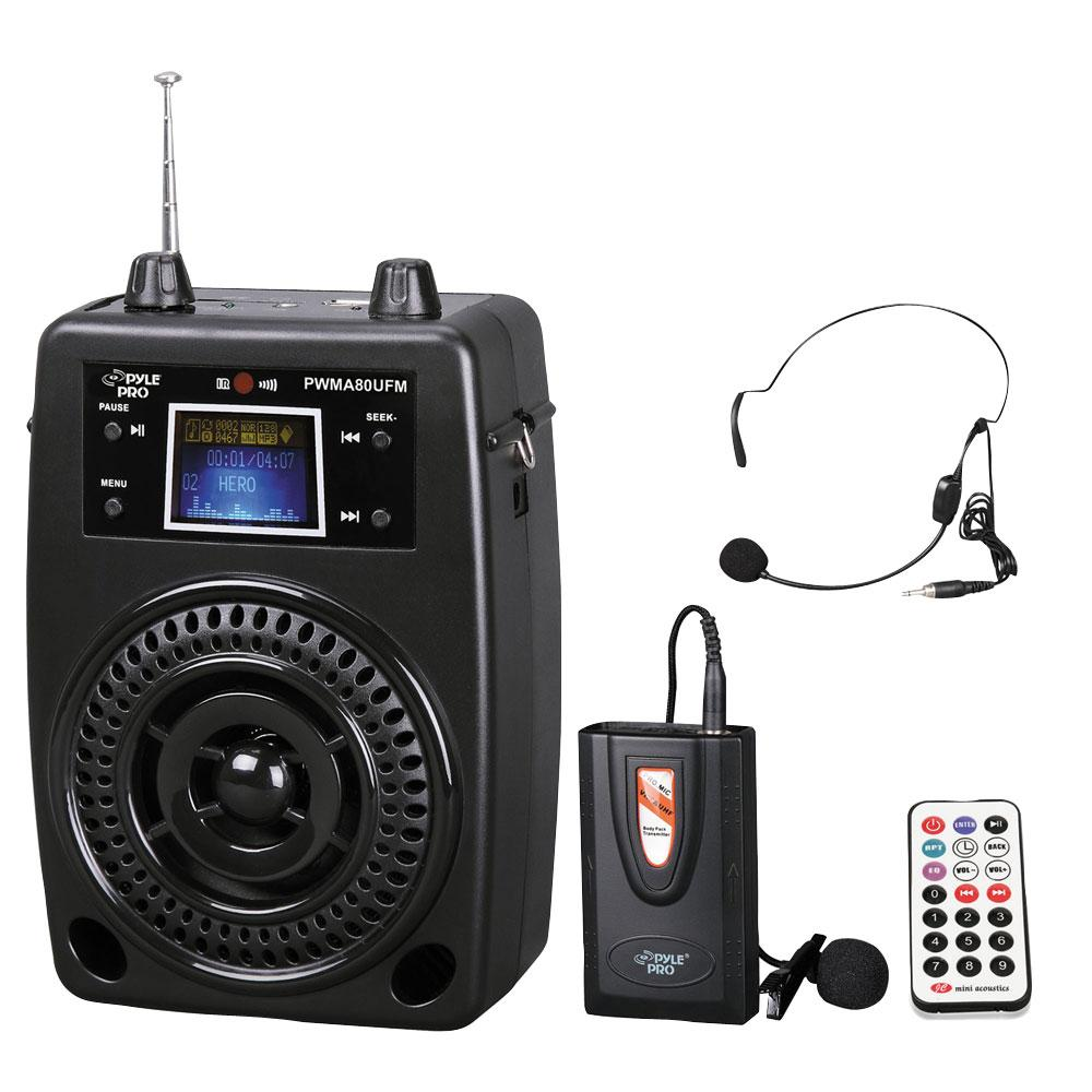 pyle pro pwma80ufm 100 w portable pa system with included wireless lavalier. Black Bedroom Furniture Sets. Home Design Ideas