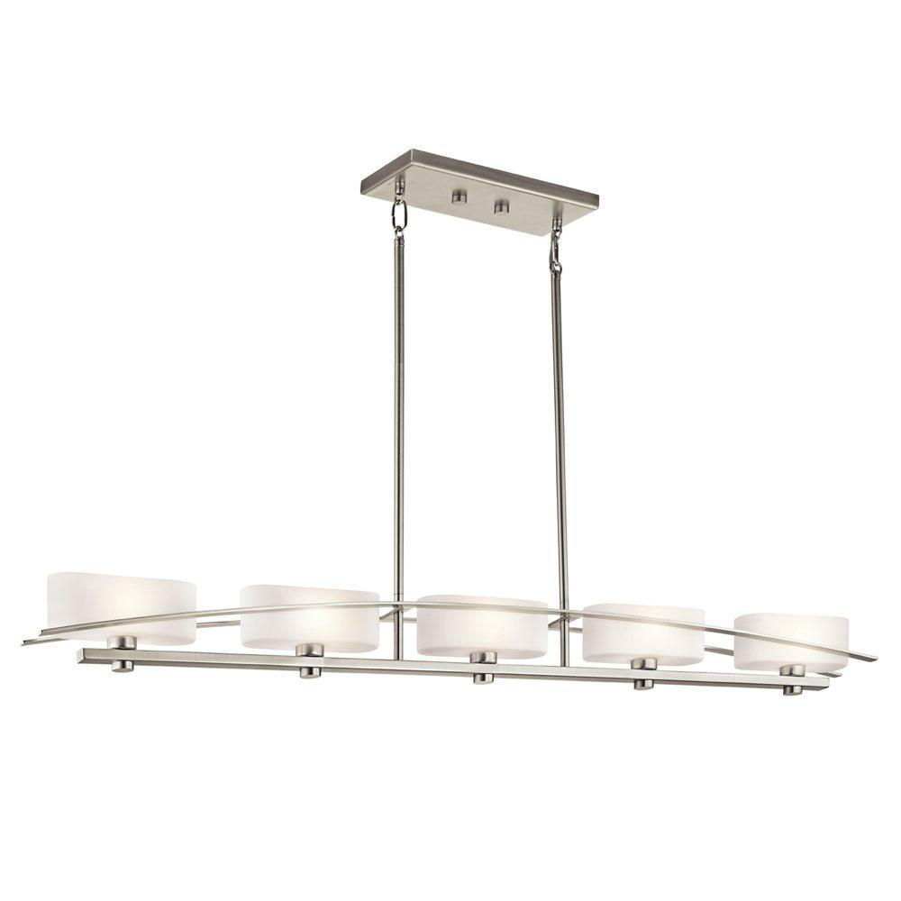 kichler lighting 42018ni suspension 5 light linear pendant brushed nickel finish with satin. Black Bedroom Furniture Sets. Home Design Ideas