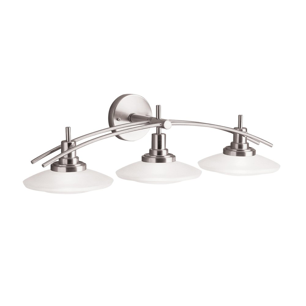 kichler lighting 6463ni structures wall mount 3 light halogen bath light with glass shades. Black Bedroom Furniture Sets. Home Design Ideas